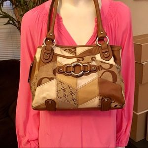 Sophia Caperelli Vintage Brown & Tan Leather Tote